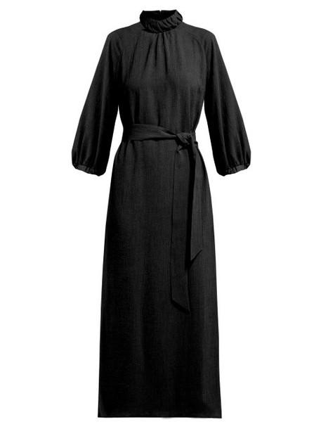 Cefinn - Tie Waist Gathered Voile Midi Dress - Womens - Black Multi