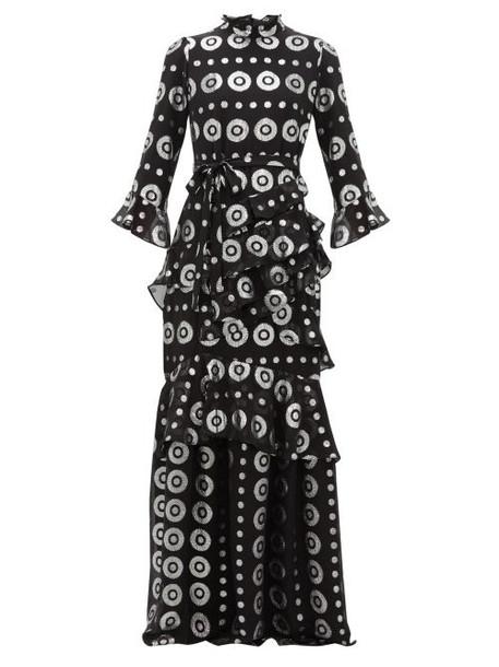 Saloni - Marissa Metallic Silk Blend Jacquard Maxi Dress - Womens - Black Silver