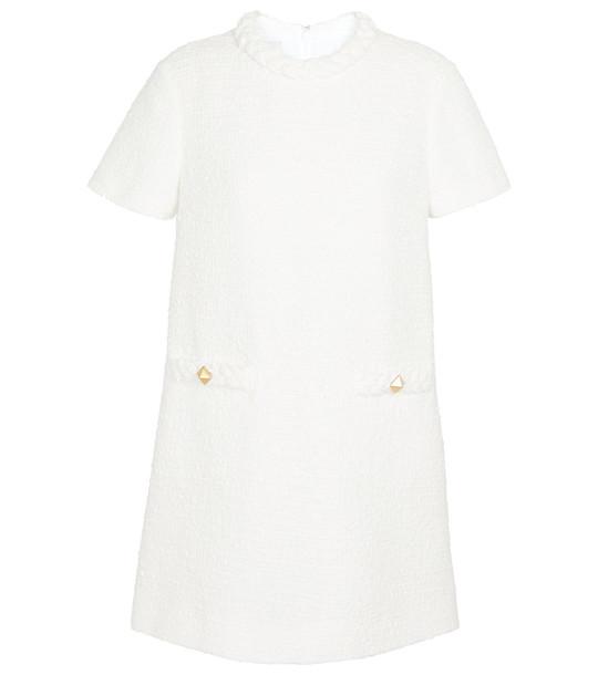 Valentino Cotton-blend tweed minidress in white