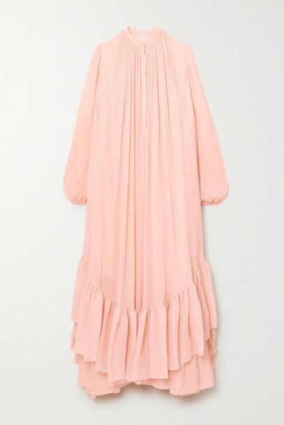 ALEXANDER MCQUEEN - Asymmetric Ruffled Cotton And Silk-blend Crepon Dress - Pink