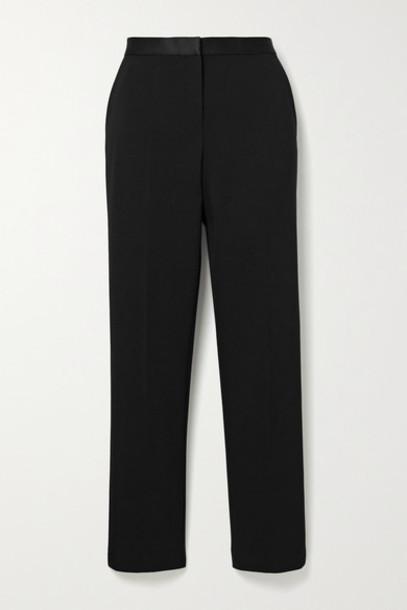 Theory - Satin-trimmed Cady Slim-leg Pants - Black