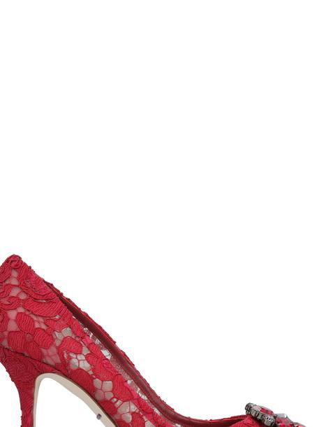 Dolce & Gabbana Bellucci Lace Pumps in red