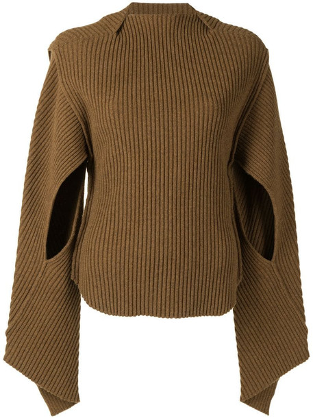 Victoria Beckham cut-out ribbed jumper in brown