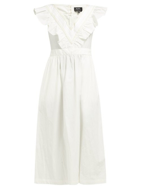 A.P.C. A.p.c. - Marty Ruffled Cotton Dress - Womens - White