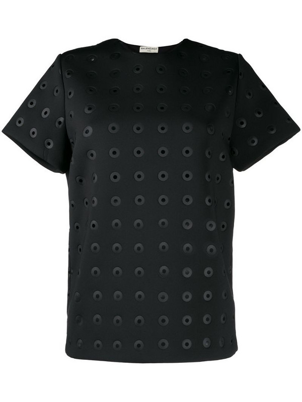 Balenciaga Pre-Owned eyelet detailed T-shirt in black