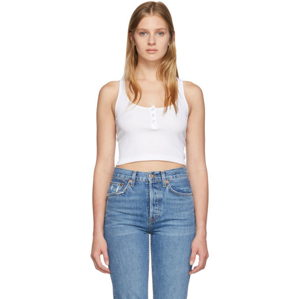 Re-Done Re/Done White Cropped Henley Tank Top