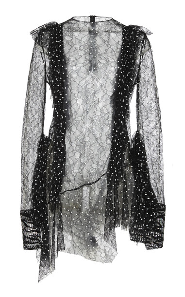 Anaïs Jourden Semi-Sheer Laced Polka-Dot Print Mini Dress Size: 34 in black
