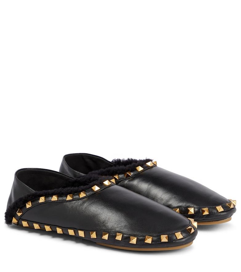 Valentino Garavani Rockstud leather slippers in black