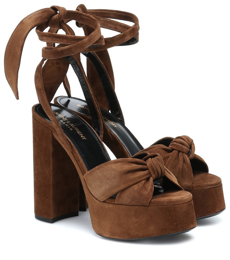 Saint Laurent Bianca 125 suede platform sandals in brown