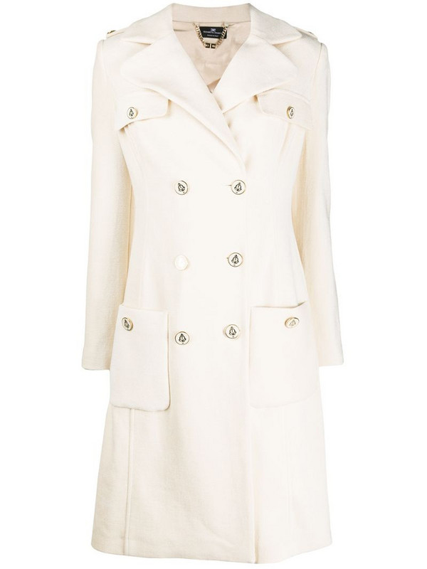 Elisabetta Franchi military style coat in neutrals