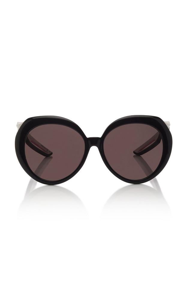Balenciaga Hybrid Round-Frame Acetate Sunglasses in black