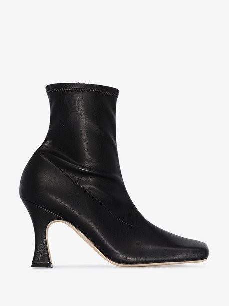 A.W.A.K.E. Mode Priscilla 70 square toe leather ankle boots in black