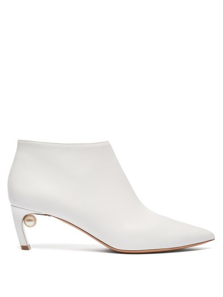 leather ankle boots pearl ankle boots leather white shoes