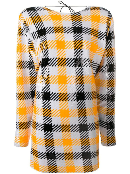 ROTATE houndstooth sequin mini dress in yellow