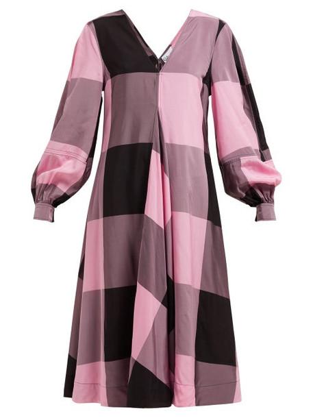 Ganni - Checked Chiffon Dress - Womens - Pink Multi