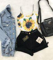 top,sunflower bodysuit,sunflower,tank top,spaghetti strap,sunflower tank top,shirt,floral,flowers