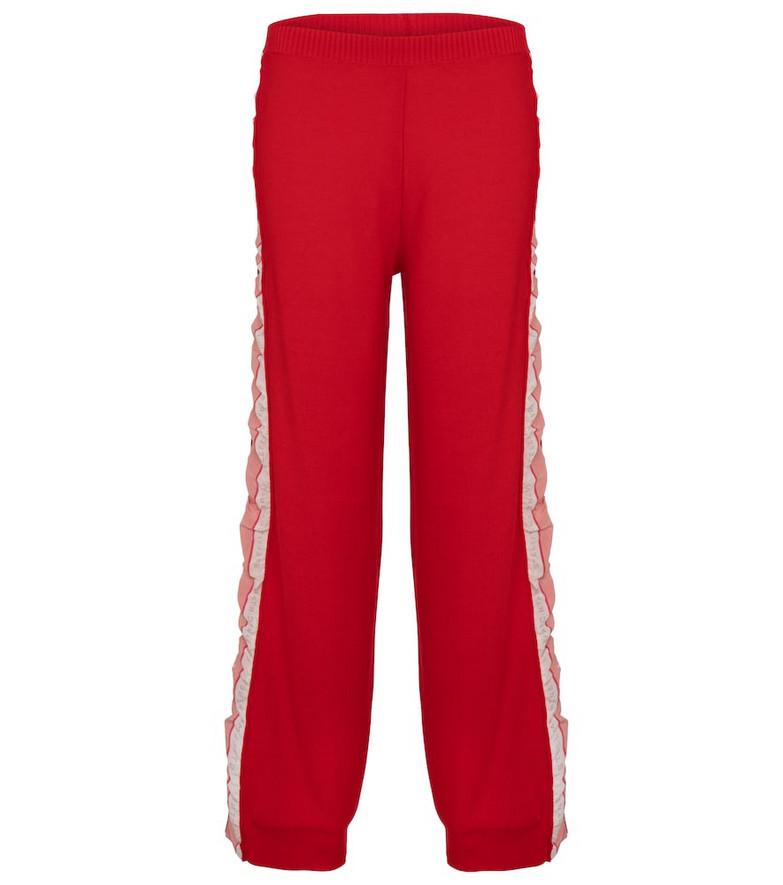 Stella McCartney Silk-trimmed wool sweatpants in red