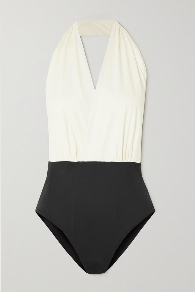 ZEUS + DIONE ZEUS + DIONE - Mani Wrap-effect Two-tone Halterneck Swimsuit - Black