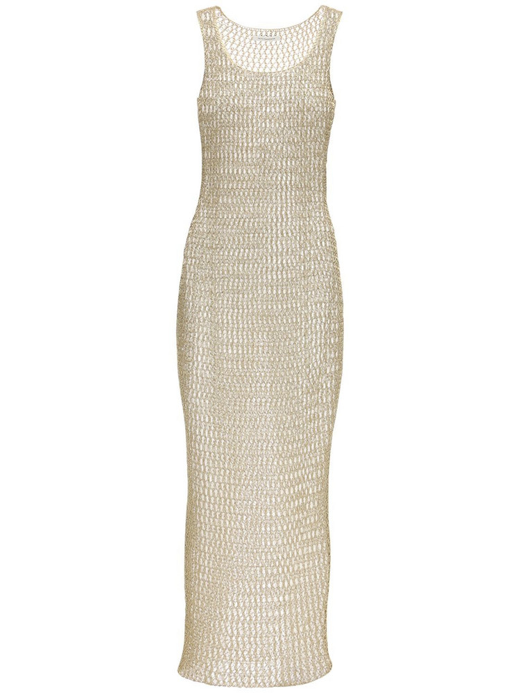 FAITH CONNEXION Metallic Knitted Long Dress in gold