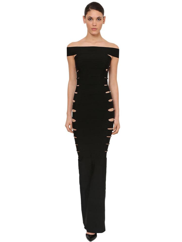 AZZARO Long Mermaid Side Cutout Knit Dress in black