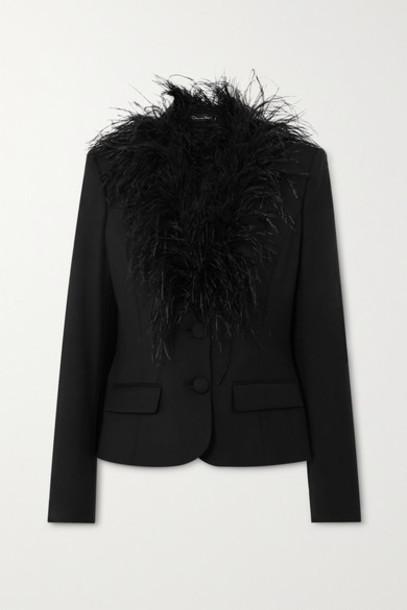 Oscar de la Renta - Feather-trimmed Wool-blend Blazer - Black