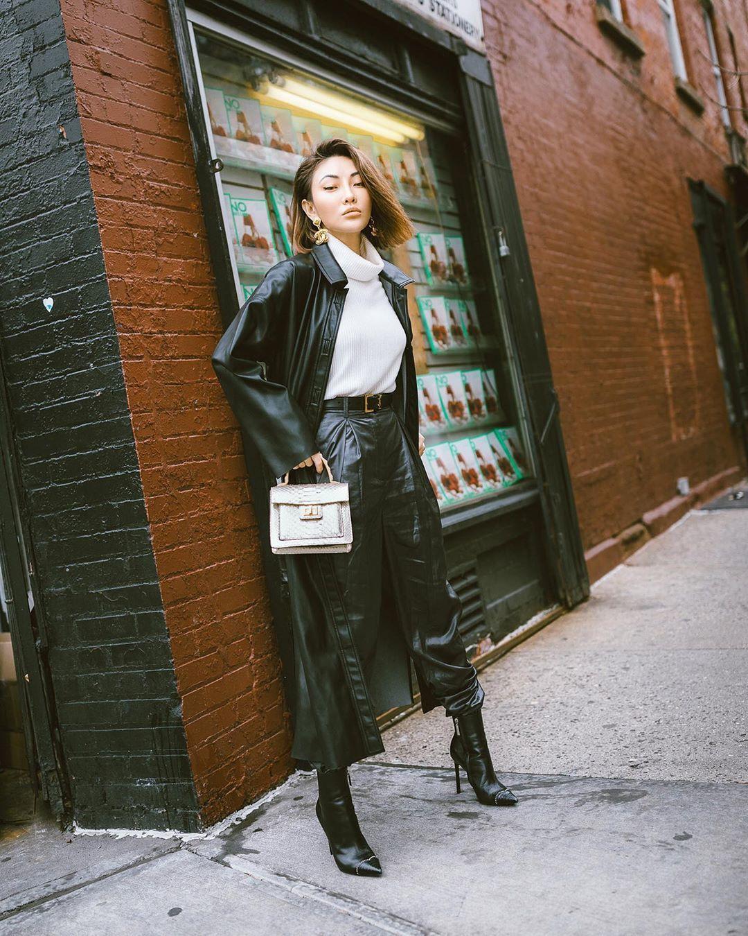 pants black leather pants black high waisted pants black boots ankle boots black coat white sweater handbag