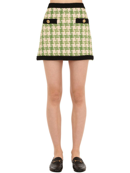 GUCCI Bicolor Cotton Blend Tweed Mini Skirt in green / white