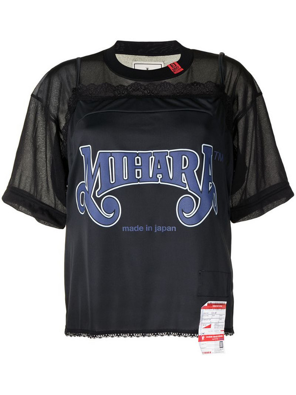 Maison Mihara Yasuhiro lace-trim short-sleeved T-shirt in black