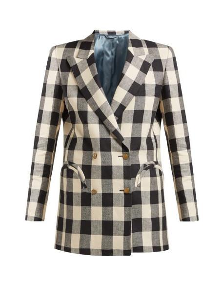 Blazé Milano - Pequod Double Breasted Check Linen Blazer - Womens - Black White