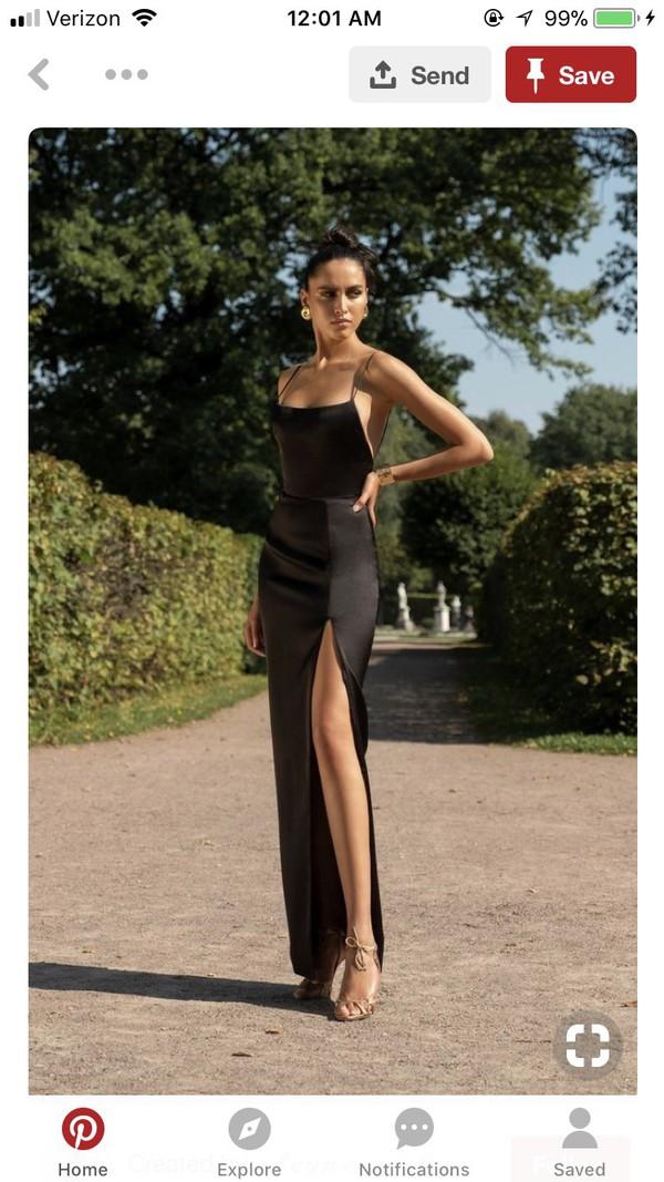 dress black dress slit dress satin silk backless maxi dress long dress formal dress rasario