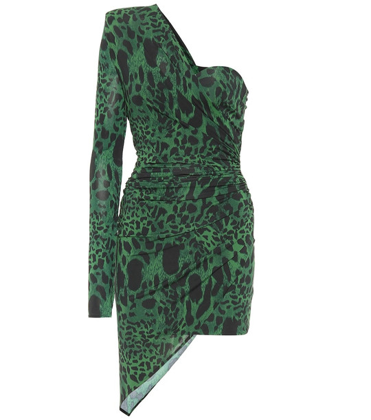 Alexandre Vauthier Leopard-print one-shoulder minidress in green