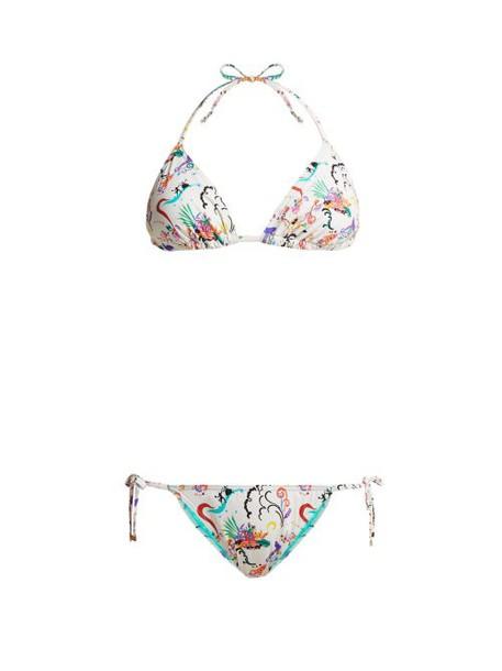 Etro - Printed Tie Side Bikini - Womens - White