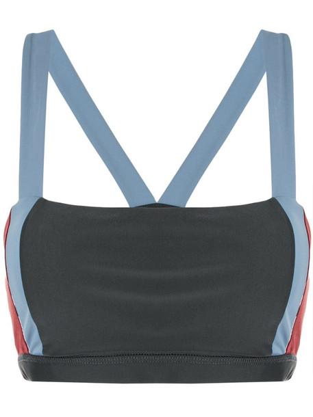 Lanston Sport Vision colour block sports bra in grey