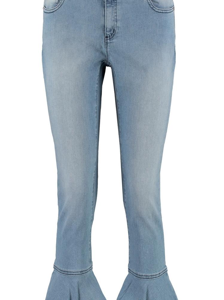 Michael Kors Flounce Hem Cropped Jeans in denim / denim