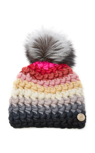 Mischa Lampert Exclusive Fur-Topped Striped Wool Beanie in multi