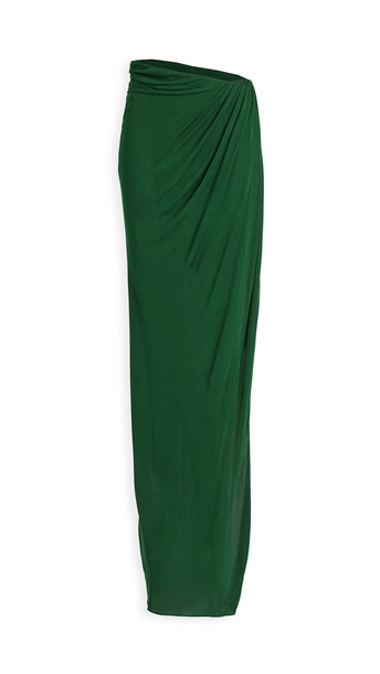Brandon Maxwell Jersey Floor Length Wrap Skirt in green