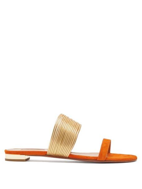 Aquazzura - Rendez Vous Suede Sandals - Womens - Orange Gold