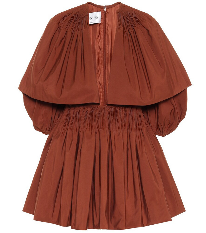 Valentino Cotton-blend faille minidress in brown