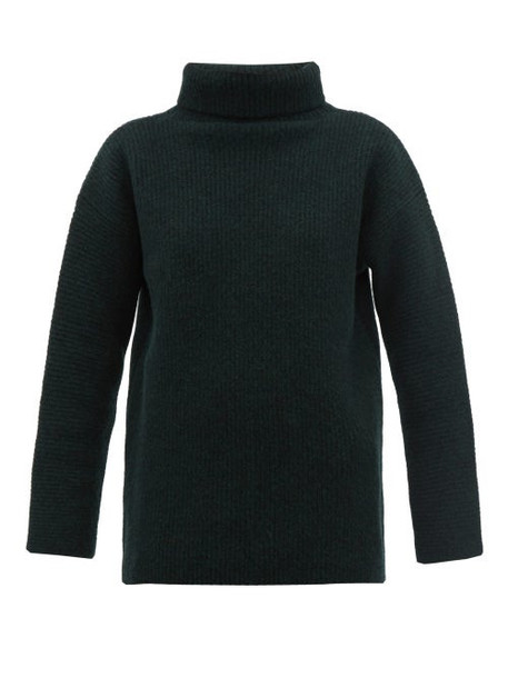 Jacquemus - Agde Ribbed Knit Roll Neck Wool Blend Sweater - Womens - Dark Green