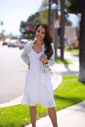 stylish petite,blogger,dress,jacket,shoes,white dress,summer dress,summer outfits,spring outfits