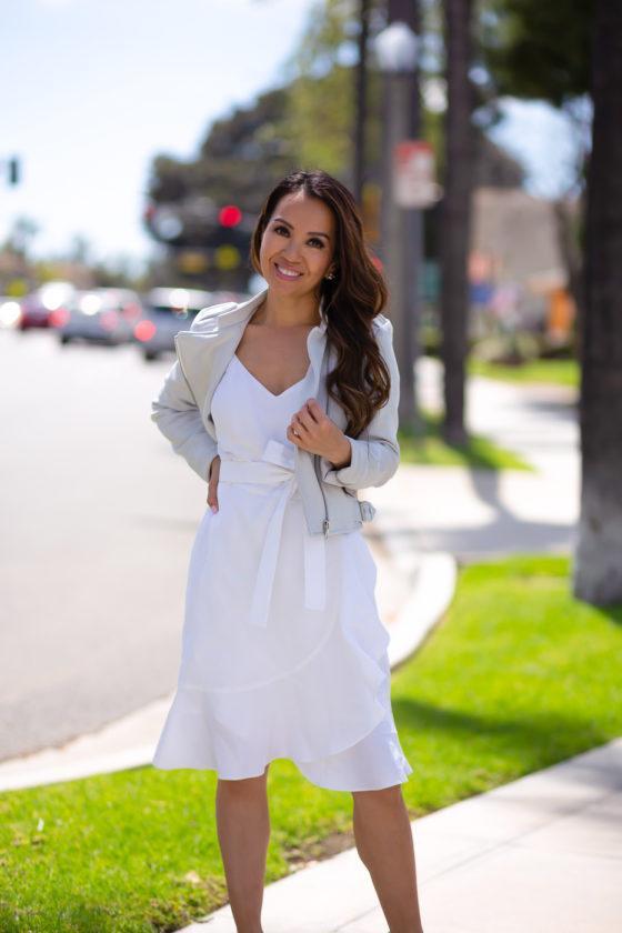 stylish petite blogger dress jacket shoes white dress summer dress summer outfits spring outfits