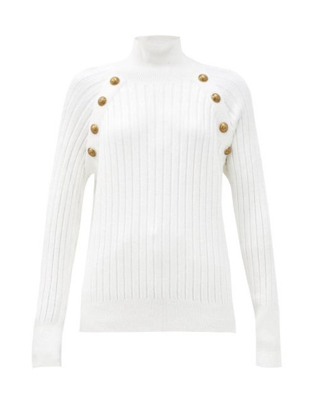 Balmain - Crest-button Ribbed High-neck Sweater - Womens - White