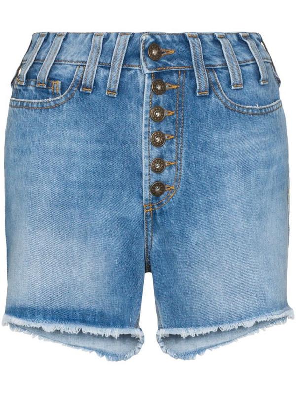 Faith Connexion distressed effect high waist denim shorts in blue