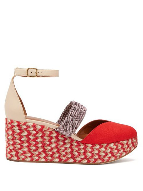 Malone Souliers - Sasha Canvas Espadrille Wedges - Womens - Red Multi