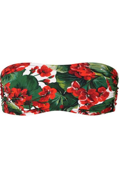 Dolce & Gabbana - Portofino Floral-print Bandeau Bikini Top - Red