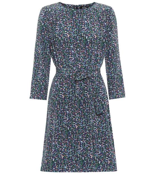A.P.C. Brigette printed silk minidress in blue