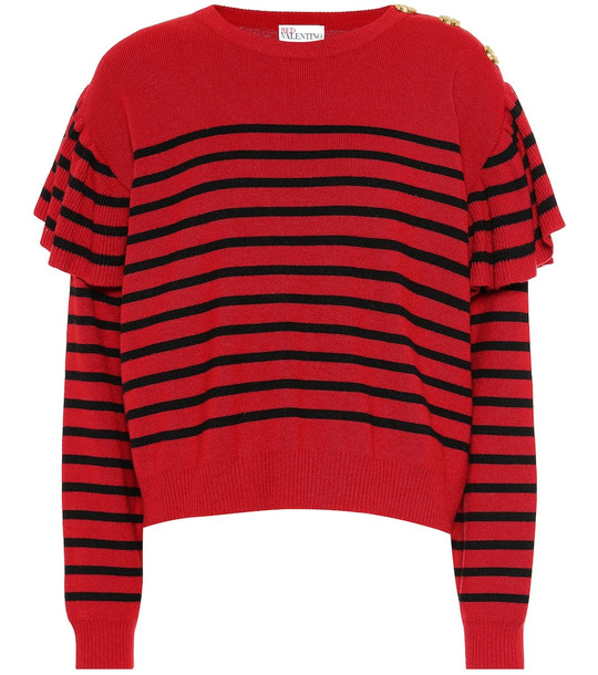 REDValentino Striped wool-blend sweater in red