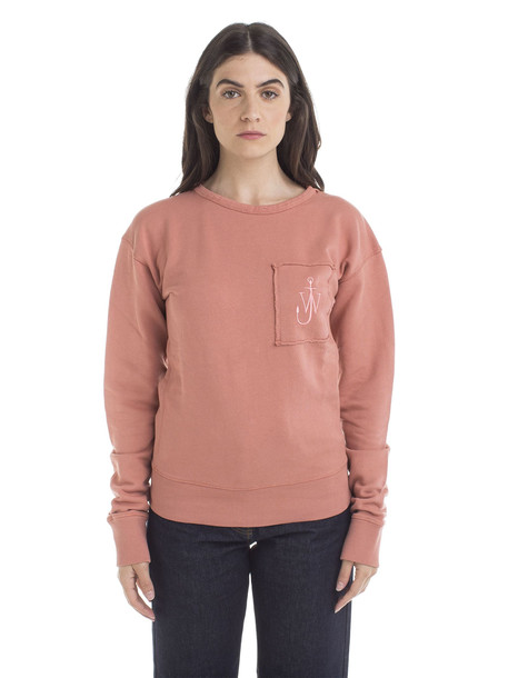 J.W. Anderson Garment Dyed Jwa Anchor Patch Sweatshirt in rose