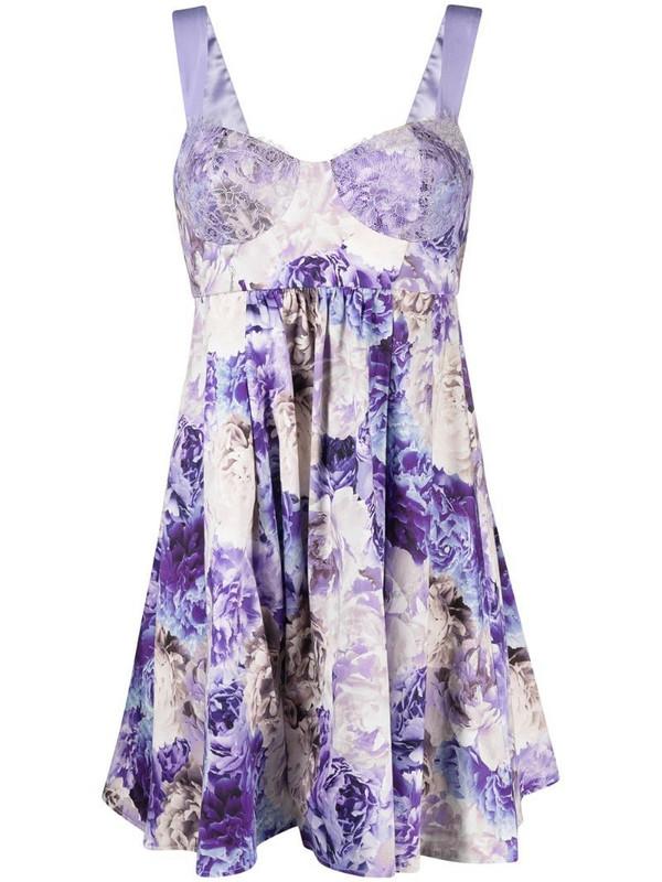 Elisabetta Franchi floral bodice-detail dress in purple