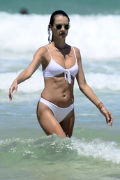 swimwear,white,white bikini,alessandra ambrosio,model off-duty,bikini top,bikini bottoms,celebrity